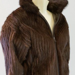 mink fur & leather reversible bomber jacket 1980 S